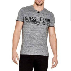 New Men's GUESS Dane Marled Logo Henley Shirt sz M
